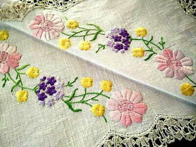 Stunning Spring Flowers  Vintage Hand Embroidered Centrepiece