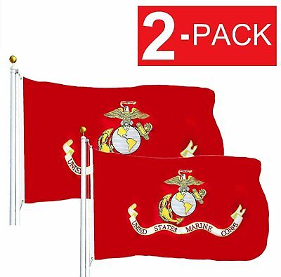 2-Pack USMC United State Marine Corps Flag 3 X 5 With Brass Grommets