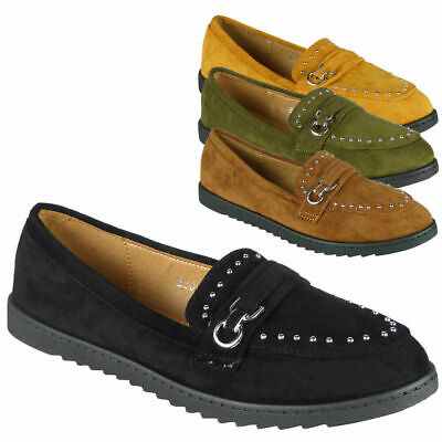 Womens Flats Loafers Ladies Studs Shiny Slip On Work School Office Shoes Size