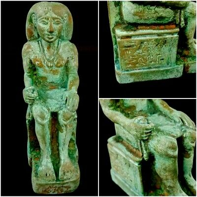 Rare Egyptian Ancient Antique Sitting Scribe Late Period bronze hieroglyphic art