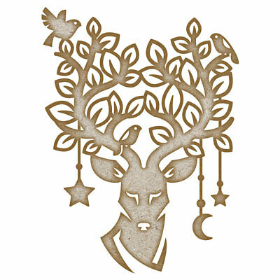 Moonlit Forest Stag MDF Laser Cut Craft Blanks in Various Sizes