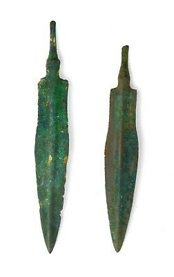 *SC*CHOICE PAIR OF ANCIENT NEAR EAST BRONZE JAVELIN / SPEAR POINT, 2nd mill BC!