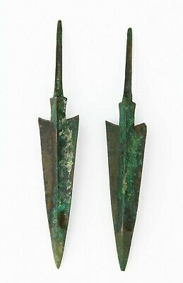 *SC*PAIR OF ANCIENT NEAR EAST BRONZE JAVELINS / SPEAR POINT, 2nd mill BC!