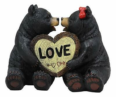 """Rustic Black Bear Couple Kissing & Holding Hands Figurines 2 Piece Parts 5"""" Tall"""