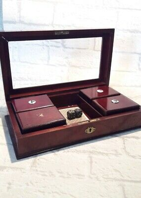 English antique gaming box brass bevelled glass rosewood bezique for chips cards