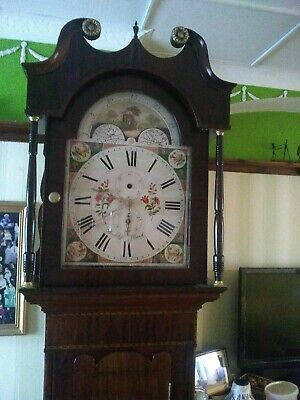 Antique 19thC English 1 Day Mahogany & Oak Cottage Grandfather Longcase Clock