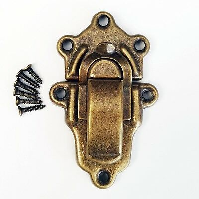 Retro Cabinet Hardware Jewelry Box Latch Closure Hasp Lock Trunk Toggle Catch