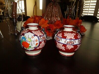 Gold Castle, Japan Chikusa Hand Painted Urn's - Two - Double Handled Beautiful