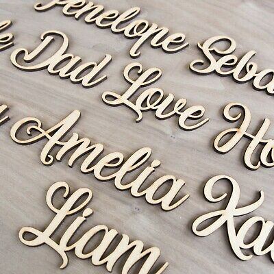 Personalised Script Child's Names & Words Wedding Wooden Names MDF Art Craft L&S