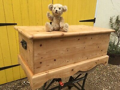 Lovely Old Pine Blanket Box with Blacksmith Made Handles Finished in Natural Wax
