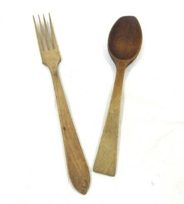 Antique/Primitive Wooden Spoon And Fork-Check It Out!!!