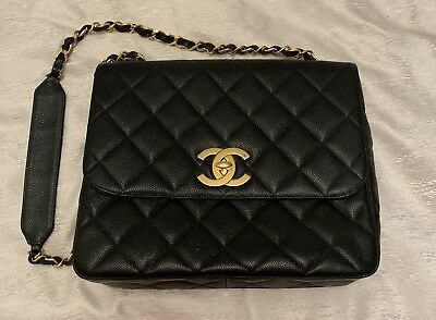 Authentic CHANEL Vintage Jumbo Quilted Black Caviar Bag Gold Hardware 🖤