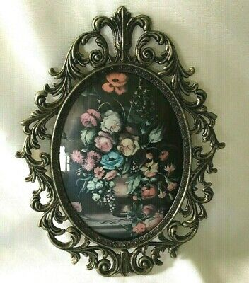 """VTG ORNATE Brass OVAL Picture Photo FRAME 13"""" Convex Glass Floral Wall Rococo"""