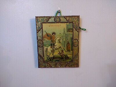 Antique Russian Orthodox Christian Religious Icon Metal on Wood