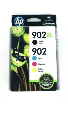 Genuine HP 902XL Black & 902 Color C/M/Y Ink NEW SEALED Box 02/2021 - Ships Fast