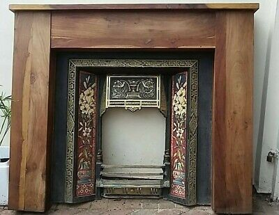 Victorian Edwardian Style Tiled Brass Fire Surround And Wooden Mantle