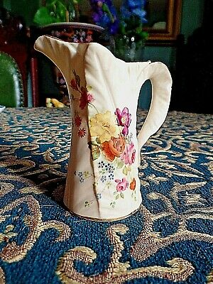 Antique Royal Worcester Hand Painted Blush Jug Tiny chip 3.75''