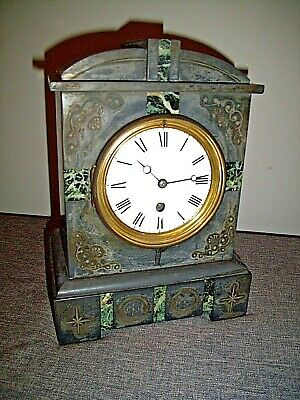 Antique Victorian Black Slate Bracket/Mantel Clock with Marble Inlay circa 1880