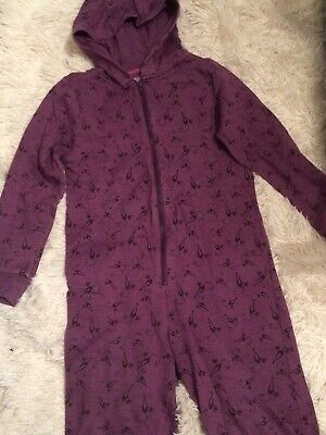 Girls All In One Purple Cat Pattern Age 9-10 Years