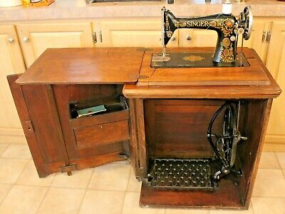 Antique Singer No. 66 Red Eye Treadle Sewing Machine Stow Away Walnut Cabinet Wo