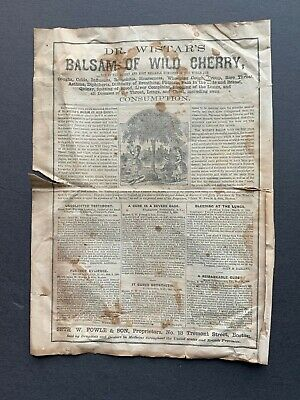 Antique Dr. Wistar's Balsam of Wild Cherry - Cure for Consumption pamphlet
