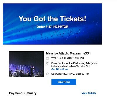 2 TICKETS to a SOLD OUT MASSIVE ATTACK SHOW, SEPT 18, SONY CENTRE, TORONTO