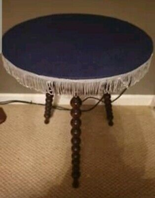 Antique Victorian Gypsy Fortune Teller Round Bobbin Table Fringed Top