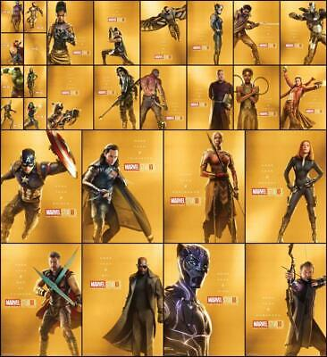 Topps Marvel Collect FIRST TEN YEARS [28 CARD GOLD CHARACTER POSTER SET]
