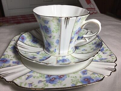 "Royal Albert Bone China Trio Cup/Saucer/7"" Plate England    Blue Pansy"
