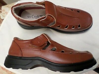 New -Tan Leather Leisure Shoes Rip Tape Strap Uk 6 Croft Originals Padded Ankles
