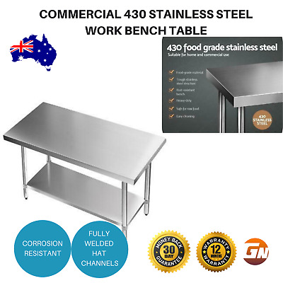 Commercial 430 Stainless Steel Kitchen Food Prep Work Bench Table