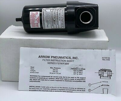 "F376FW 3/4"" Arrow Pneumatic Air Compressor Particulate Filter With Metal Bowl"
