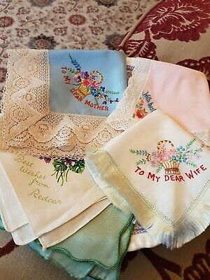 5 Vintage Sweetheart Handkerchiefs, 4 Embroidered, 1 Printed