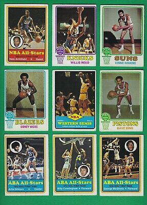 1973-74 Topps Basketball lot of 55 diff cards Archibald Reed Hawkins McGinnis