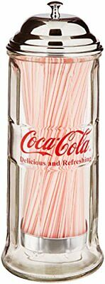 Retro Coca Cola Table Top Glass Straw Dispenser with Metal Lid