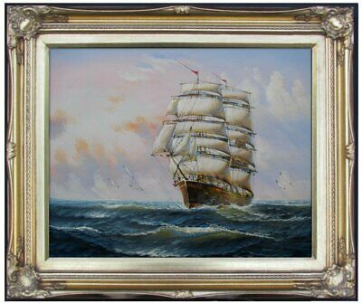 Framed Quality Hand Painted Oil Painting, Sailboat on the Sea 4, 16x20in