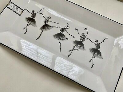 New Ciroa Wicked Ballerina Skeleton Halloween Serving Tray Platter Plate Party