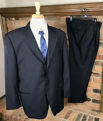 Joseph Abboud WOOL/SILK Striped Suit 44L Jacket 40x30 Pleated Pants 3-Btn/Black
