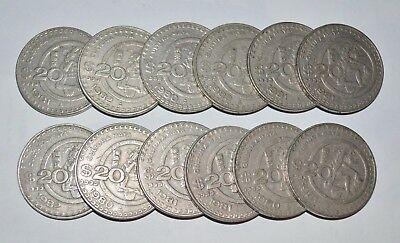 MEXICO lot 200 PESOS 1985 vintage world foreign Mexican 10 LARGE COINS