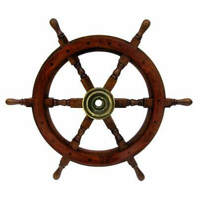 "24"" Antique Wooden Ship Steering Wheel Pirate Decor Brass Wall Boat"