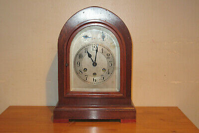 ANTIQUE MANTEL CLOCK by K.C. Co. Germany - Works  w/ Key - KEEPS TIME, MUST SEE!