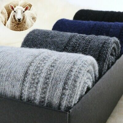 5 Pack Mens Wool Cashmere Solid Socks Heavyweight Casual Thick Warm Classic Crew