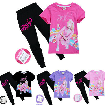 Kids Girls JOJO Short Sleeve T-Shit + Long Pants Casual Outfits Clothes Sets
