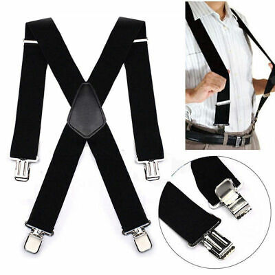 50mm Unisex Mens Men Braces Plain Black Wide /& Heavy Suspenders Adjust V7A9 R3Y7