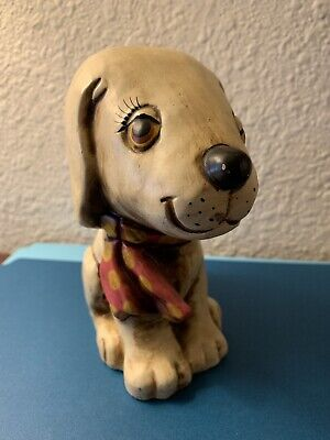 Vintage Paper Mache Puppy Dog Bank Ribbon Good Condition Made In Japan