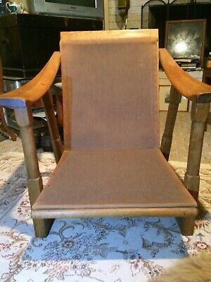 Antique Mission Oak Arts & Crafts Stickley Style Lounge Chair Rare Curved Arms