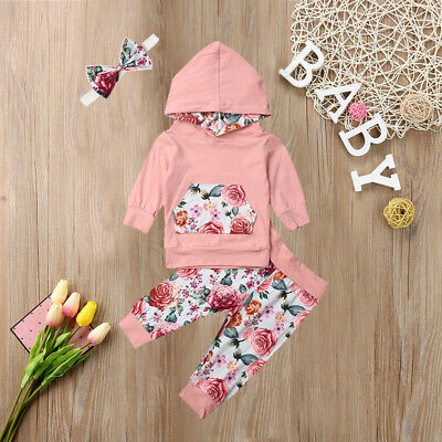 Newborn Baby Girl Hooded Top Sweatshirt Pants Autumn Clothes Outfits Tracksuit