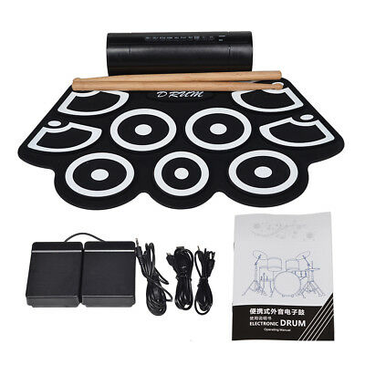 USB Electronic Drum Pad Digital Roll up Pads Drum Set Silicone Electric Drum Kit