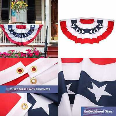 American US Flag Bunting 2X4 Ft USA Pleated Fan By Veterans Owned Biz. Brass Gro