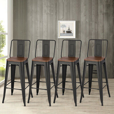 Tolix Style Rustic Vintage Metal Bar Pub Stools Kitchen Retro Dining High Chairs